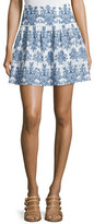 Nicholas Embroidered Mini Skirt, White/Blue