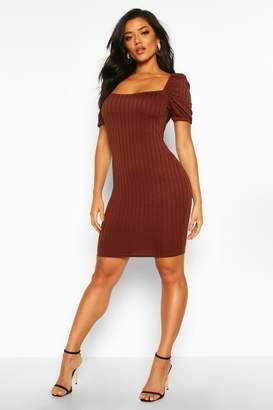 boohoo Rib Puff Sleeve Square Neck Mini Bodycon Dress