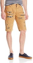 Southpole Men's Short Twill Shorts with Printed Backing and Patches