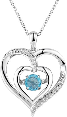 Two Hearts Forever OneBlue Topaz & Diamond Accent Sterling Silver Floating Heart Pendant Necklace