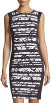 Joan Vass Printed Sleeveless Dress, Black/Shadow Floral
