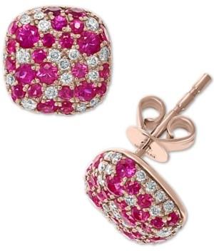 Effy Certified Ruby (1 ct. t.w.) & Diamond (3/8 ct. t.w.) Cushion Cluster Stud Earrings in 14k Rose Gold