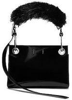 Calvin Klein Womens Calf Belted Hobo + Faux Fur Black