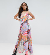 Jaded London Tall Mix Print Maxi With Bow Tie Shoulder Detail