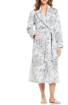 Miss Elaine Floral-Printed French Fleece Long Wrap Robe