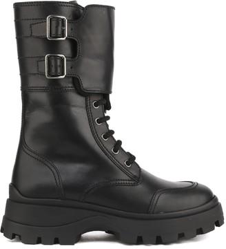 Miu Miu Mid-calf Buckle Strap Boots