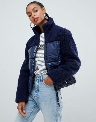 Tommy Jeans two tone sherpa padded jacket
