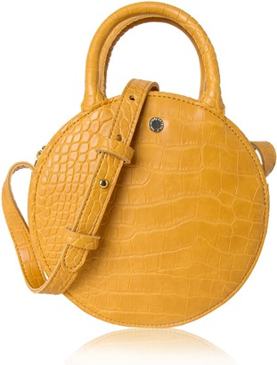 The Lovely Tote Co. Women's Fashion Crocodile Circle Crossbody Bag (Mini Yellow)