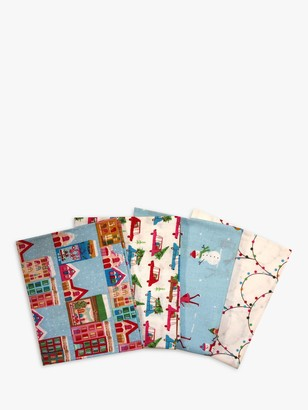 Visage Textiles Christmas Town Printed Fat Quarter Fabrics, Pack of 4, Multi