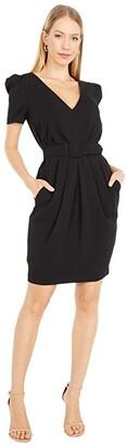 Badgley Mischka Odessa Pleated Crepe Dress (Black/Dark Emerald/Raspberry) Women's Dress