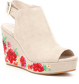 Kenneth Cole New York Olani Floral-Embroidered Suede Platform Wedges