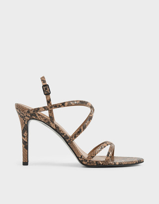 Charles & Keith Snake Print Criss Cross Strappy Stiletto Heels