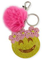 Bari Lynn Girls' Floral Halo Emoji Fur-Pom Key Chain, Pink/Yellow