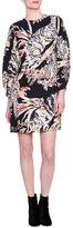 Stella McCartney Cat-Print Bishop=Sleeve Dress, Black/Print