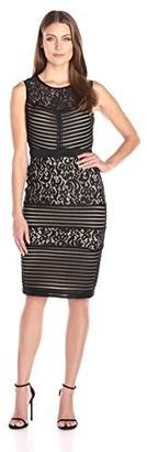 Gabby Skye Women's Sleeveless Pintuck and Lace Sheath Dress