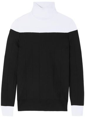 Givenchy Two-tone Ribbed-knit Turtleneck Sweater