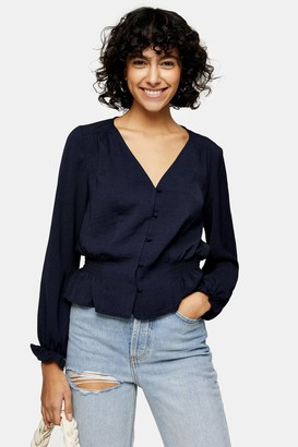 Topshop Navy Classic Blouse