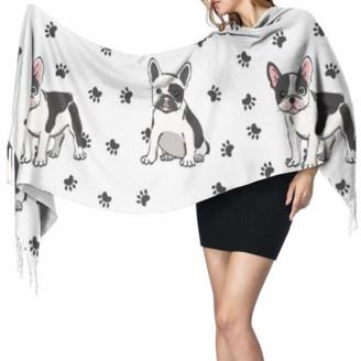 Yushg Funny Smart Cute Animal Pet Bulldog Large Cashmere Scarf Cashmere Winter Scarf Light Scarf 77x27inch/196x68cm Large Soft Pashmina Extra Warm