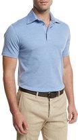 Ermenegildo Zegna Short-Sleeve Pique Polo Shirt, Light Blue