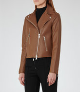Reiss Camilla Bonded Leather Jacket