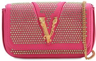 Versace Embellished Satin Shoulder Bag