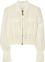 Givenchy Bomber Jacket In Silk Crepe De Chine - White