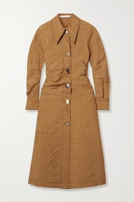 REJINA PYO Paula Ruched Woven Midi Dress - Light brown
