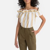 La Redoute Collections Linen Striped Ruffled Off-the-Shoulder Blouse