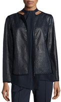 Lafayette 148 New York Keaton Embossed Leather Grosgrain-Trim Jacket, Shadow Multi