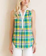 Entro Green & Yellow Plaid Sleeveless Top