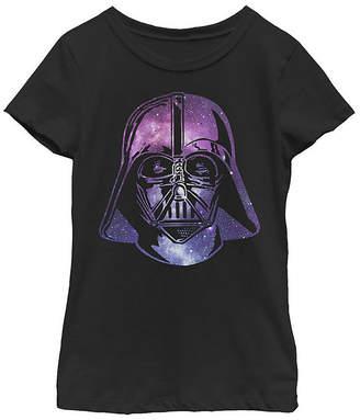 Fifth Sun Star Wars Darth Vader Space Helmet Galaxy Girls Crew Neck Short Sleeve Graphic T-Shirt - Preschool / Big Kid Slim