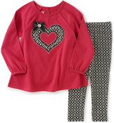 Kids Headquarters Fuchsia Geometric Heart Tunic & Leggings - Toddler & Girls
