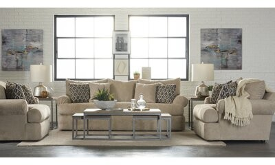 """Thumbnail for your product : Alcott Hill Cerys 71"""" Rolled Arm Loveseat with Reversible Cushions"""