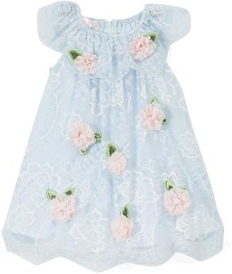 Biscotti Girls' Special Occasion Dresses BLUE - Blue Floral Angel-Sleeve Dress - Infant & Toddler