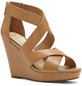 Jessica Simpson Jenay Leather Criss Cross Back Zip Platform Wedges