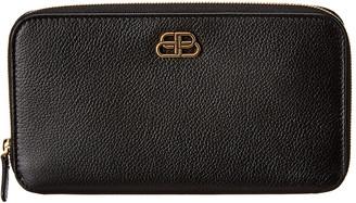 Balenciaga Bb Leather Zip Around Wallet