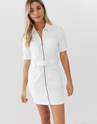 ASOS DESIGN cord mini dress with belt in white