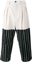 Yohji Yamamoto cropped half-stripe trousers - men - Cotton - 3