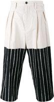 Yohji Yamamoto cropped half-stripe trousers