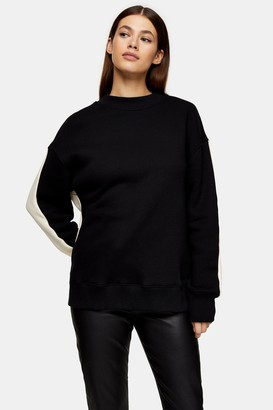 Topshop Womens **Black And White Panel Jumper By Monochrome
