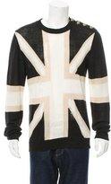 Balmain Linen British Flag Patterned Sweater