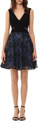Xscape Evenings Mesh Inset Embroidered Party Dress