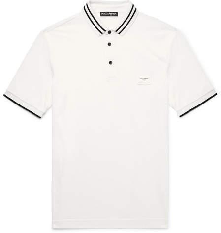 Dolce & Gabbana Slim-Fit Contrast-Tipped Cotton-Piqué Polo Shirt