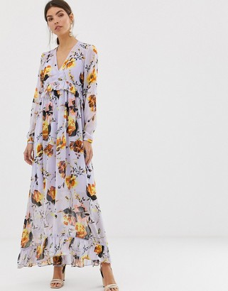 Y.A.S v neck bold floral maxi dress-Purple