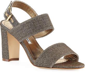 Manolo Blahnik Khans Metallic Two-Band Sandals, Bronze