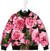 Dolce & Gabbana rose print jacket - kids - Feather Down/Polyester/Viscose - 2 yrs