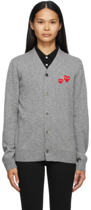 Comme des Garcons Grey Wool Asymmetric Double Heart V-Neck Cardigan