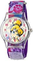 Disney Kids' W001255 Tween Tinker Bell Plastic Watch, Stretch Nylon Strap, Analog Display, Analog Quartz, Purple Watch