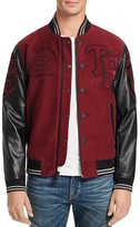 True Religion Collegiate Moleskin Leather Sleeve Jacket