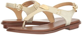 MICHAEL Michael Kors MK Plate Thong (Pale Gold Embossed Lizard Specchio) Women's Sandals
